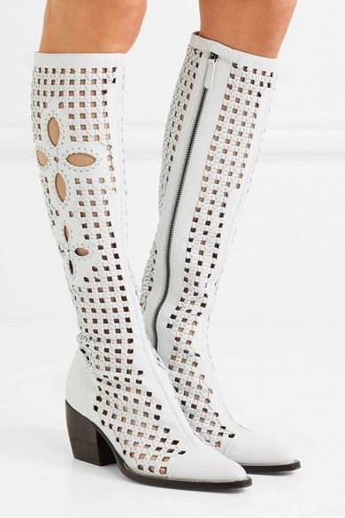 d0b81334d5ee Chloé - Rylee Cutout Woven Leather Knee Boots - White