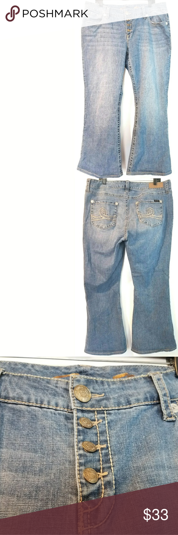 """Seven7 Luxe 18 Flare Jeans - Button Fly These Seven7 Luxe size 18 Flare Jeans - Button Fly - are in good used condition. Nicely broken in, with lots of life left! Waist measures 20"""" across laying flat, so 40"""" around. 10"""" rise. 30"""" inseam. 98% cotton, 2% spandex. ::: Bundle and save! ::: No trades. Seven7 Jeans Flare & Wide Leg"""