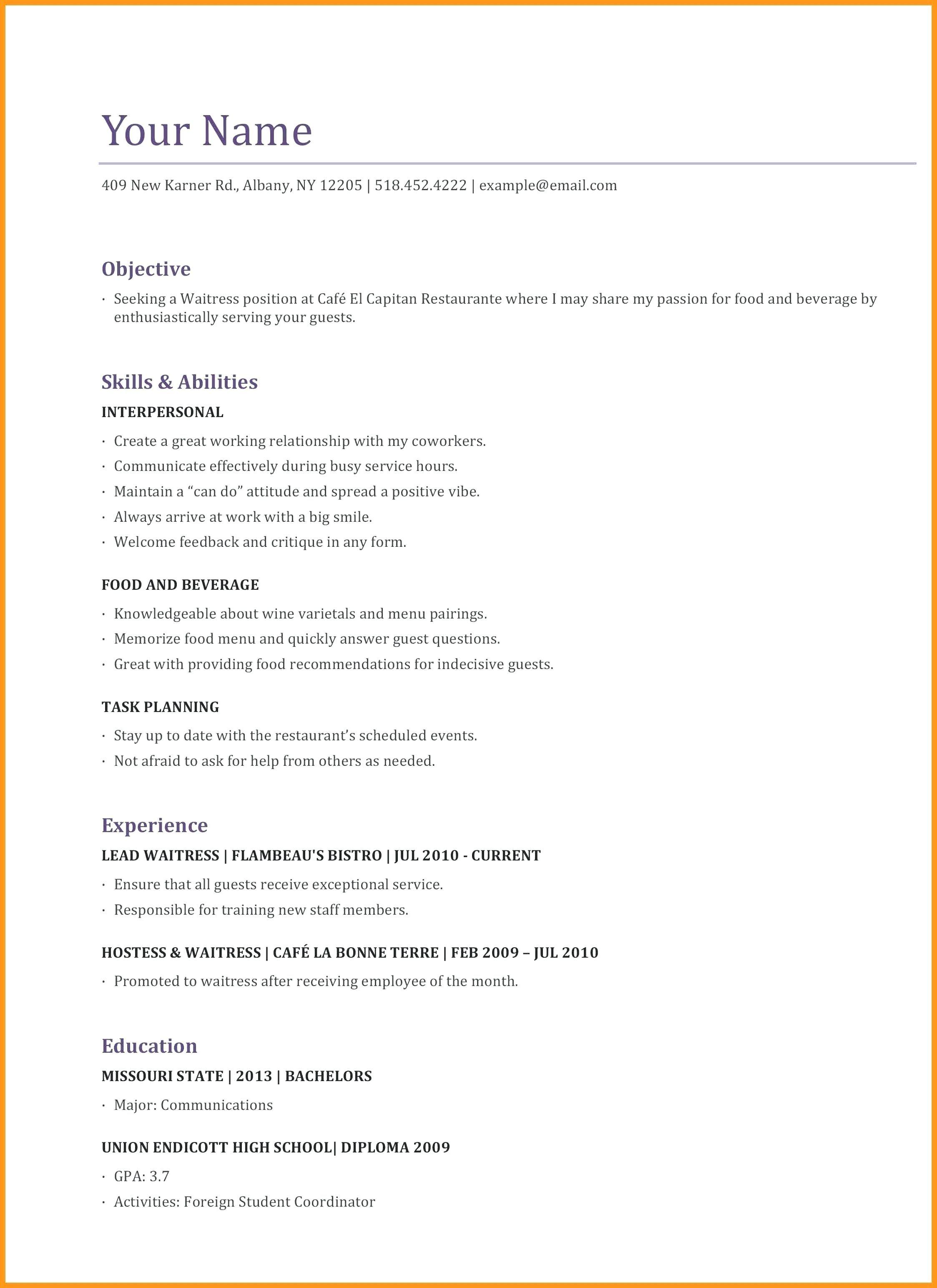 Resume Examples Waitress Examples Resume Resumeexamples Waitress