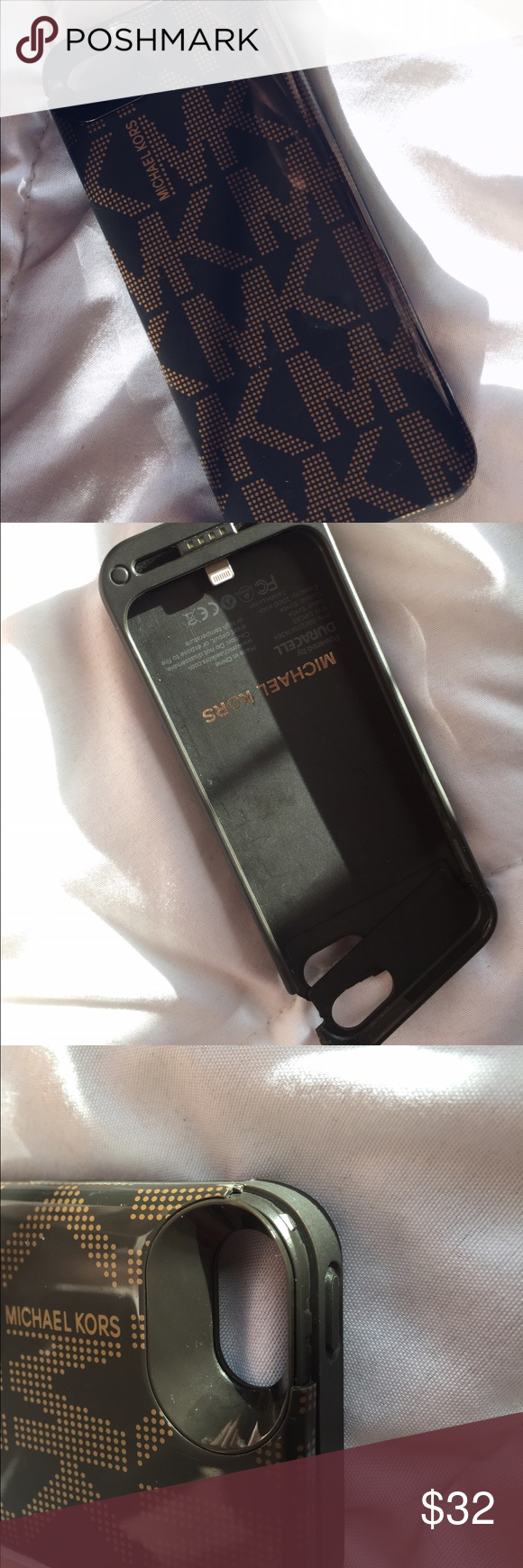 Michael Kors iPhone 5s Charger Case Needs a charger the top part is chipped but it still works as a normal case charger Michael Kors Accessories Phone Cases