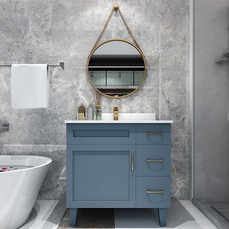 北欧浴室柜组合圆镜实木落地美式卫浴洗手池卫生间洗漱台洗脸面盆 淘宝