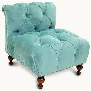 Old Hickory Tannery Tufted Blue Velvet Slipper Chair   Polyvore