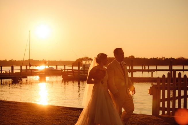 great water sunset view shot of couple