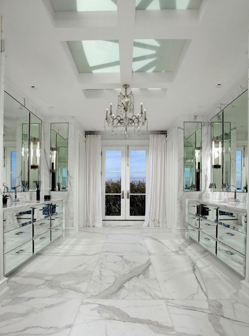 sumptuous design ideas marble tile for bathroom. master bathroom with marble floor  mirrored cabinets and drawers crystal chandelier french doors skylight 10 Sumptuous Marble Luxury Bathrooms That Will Fascinate You
