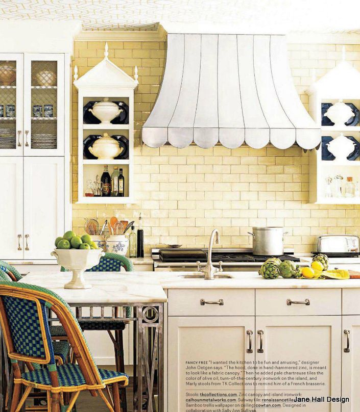 White Kitchen With Yellow Accents: I Love The Butter Yellow Subway Tiles And The Jade Green