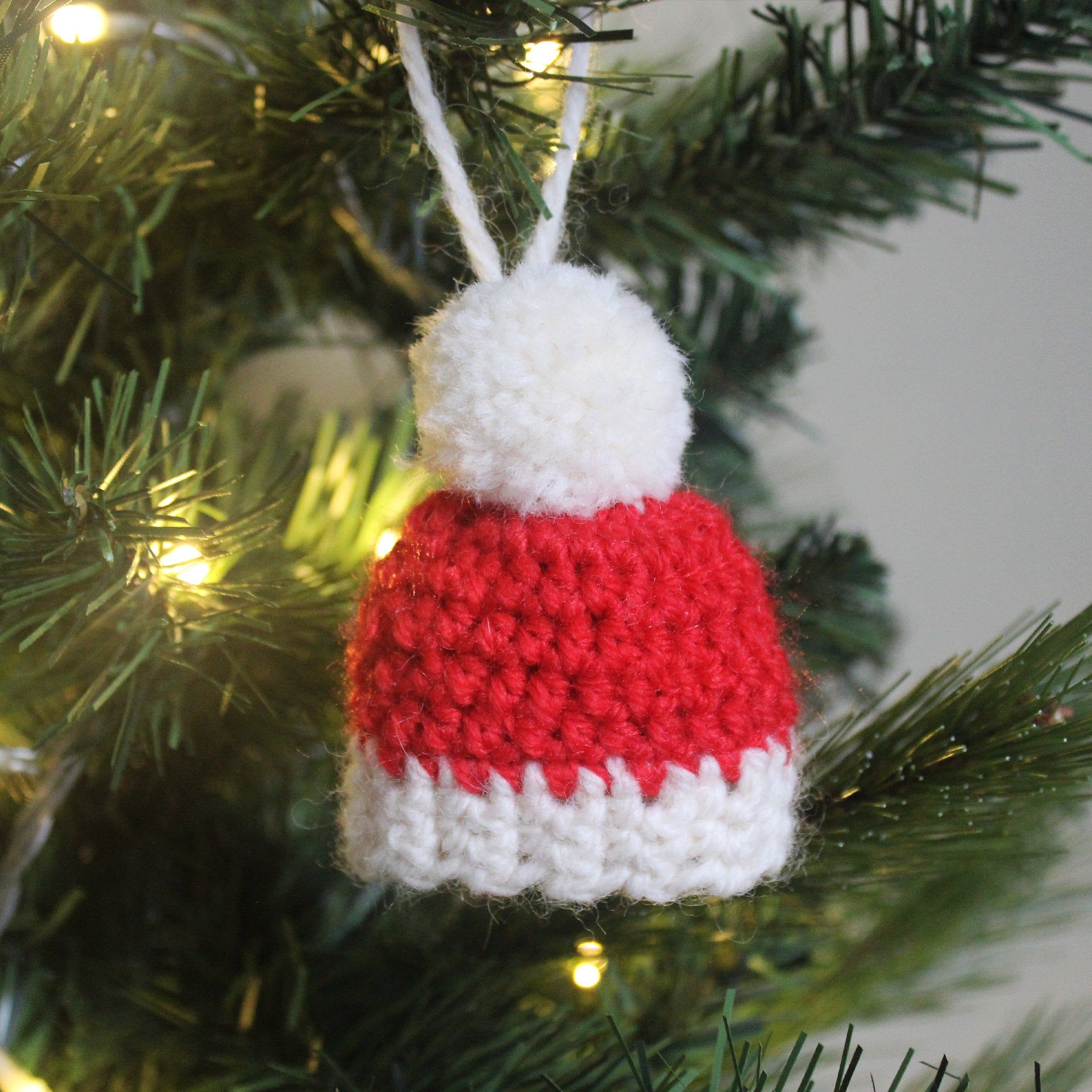 Red White Winter Woolly Hat Beanie Hanging Crochet Christmas Etsy In 2020 Christmas Crochet Ornament Gifts Crochet Christmas Trees