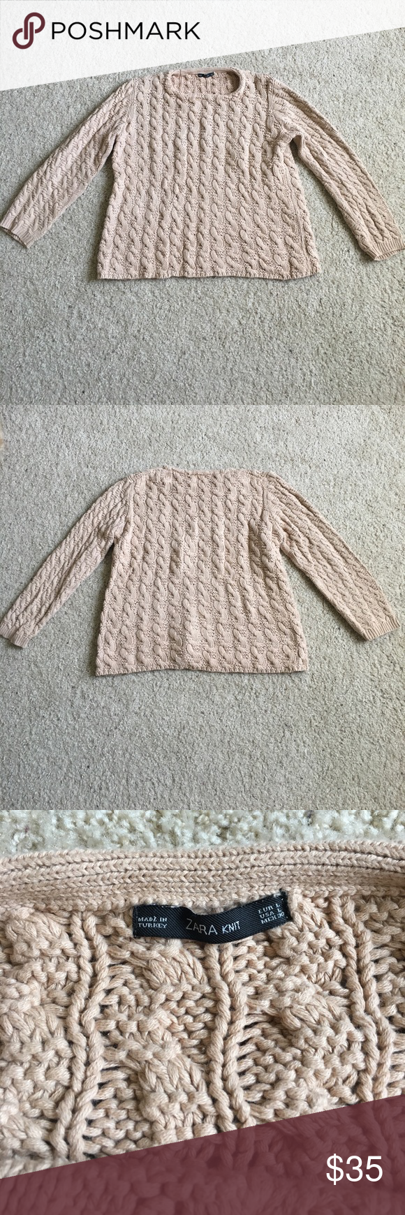 Zara Cotton Cable Knit Sweater Sz Large | Cable knit sweaters ...