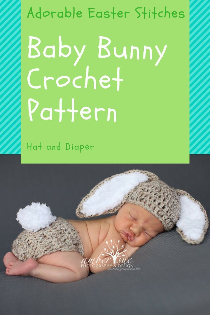 Crochet Baby Hat and Diaper Cover Bunny Rabbit Ears Photo Prop baby ...