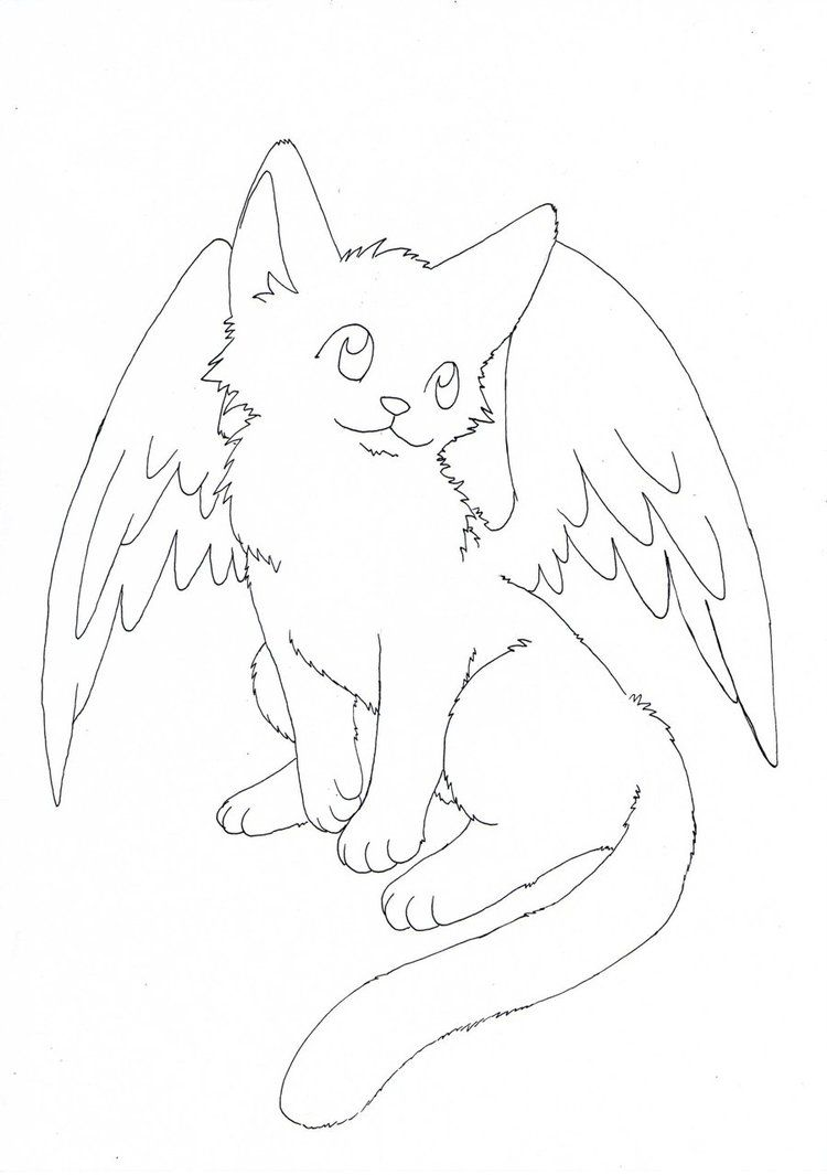 Free Winged Kitty Lineart by aconite-pawlove