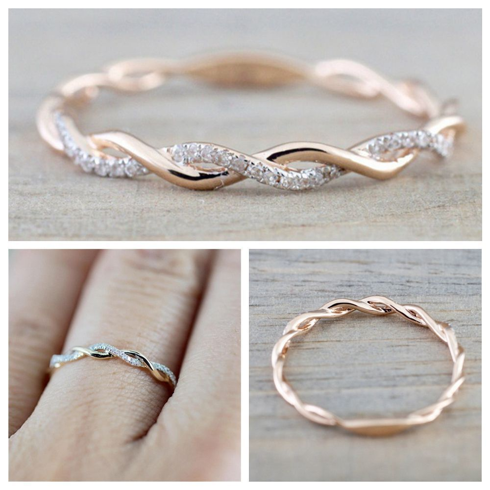 Band Shape Engagement Charm Thin Twisted Ring Crystal Wedding Jewelry Unbranded Crystal Wedding Jewelry Cute Promise Rings Twisted Band Ring