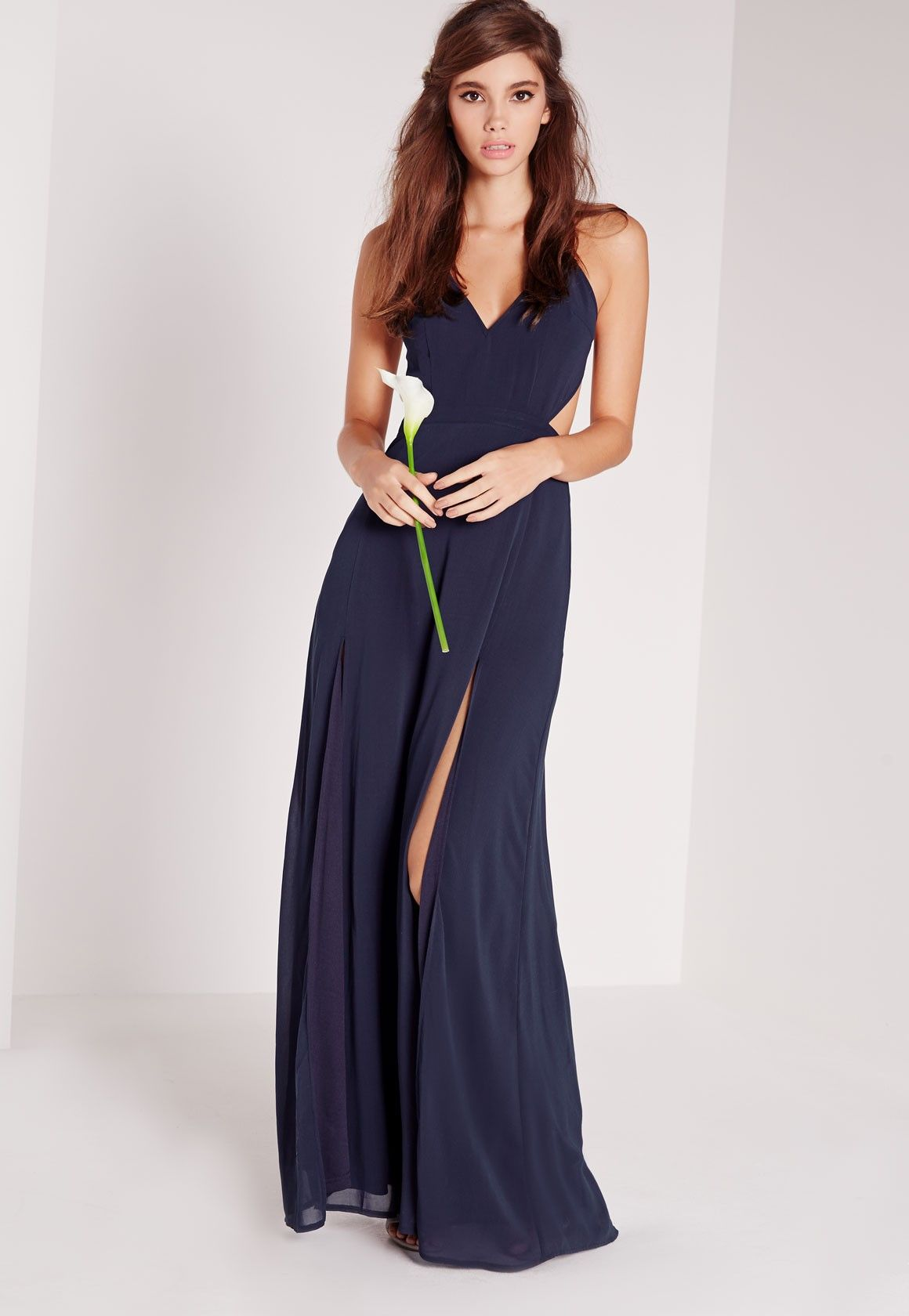 86222b2213333 Missguided - Strappy Cut Out Maxi Dress Navy | Prom | Dresses ...