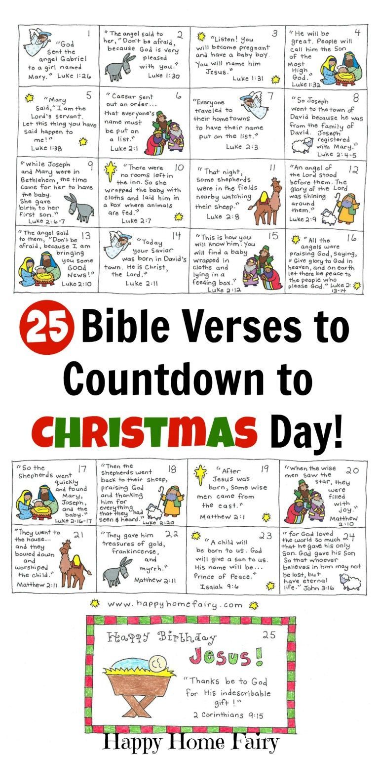 Bible Verse Advent Countdown for Kids - FREE Printable | Paper ...