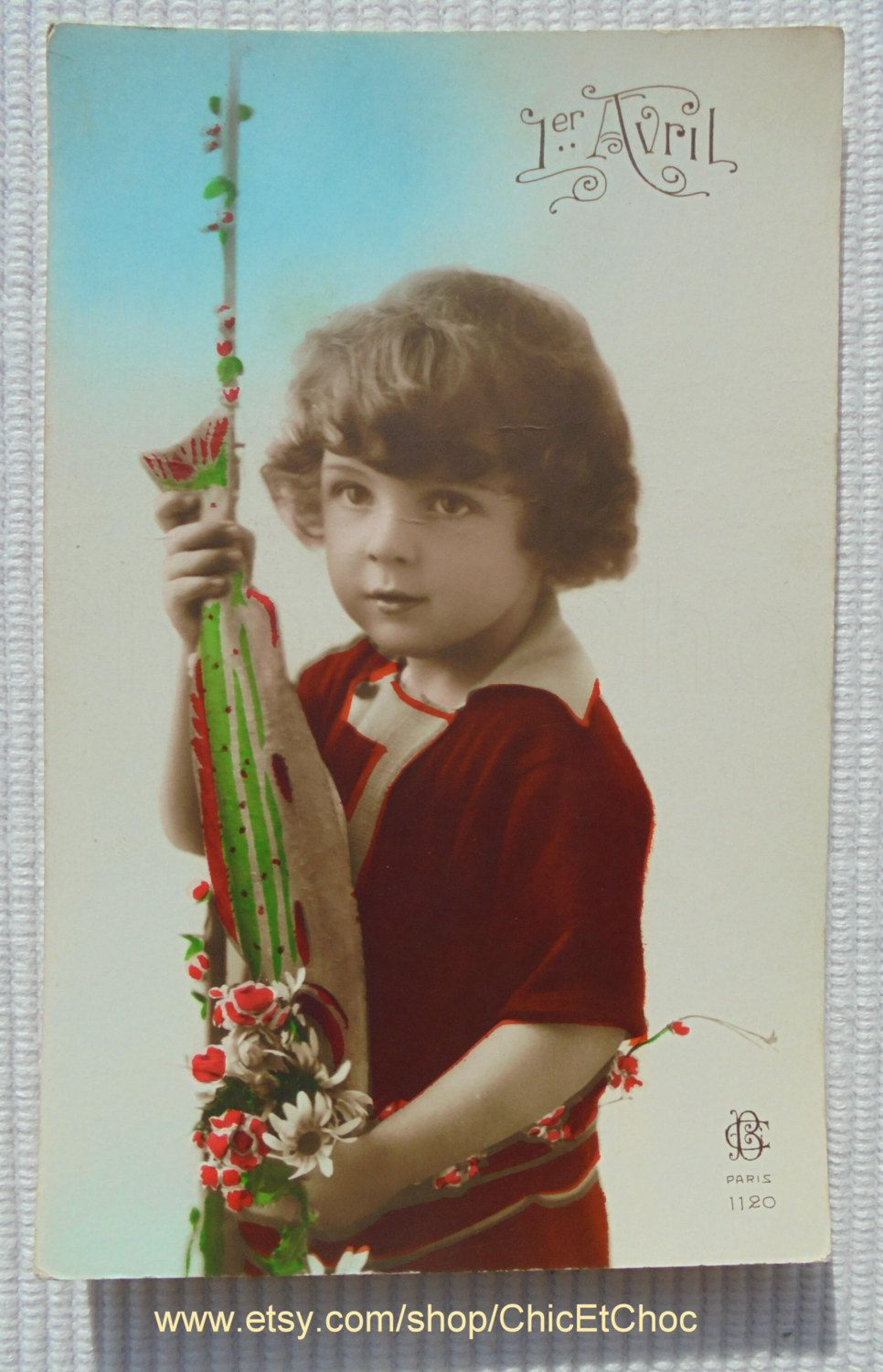 Unused French Postcard - Child with a Fish (Poisson D'Avril / April 1st) by ChicEtChoc on Etsy