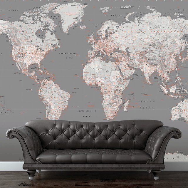 Fashionable world map wall mural for any room throughout your home fashionable world map wall mural for any room throughout your home in vogue greys and orange themed world map mural fits perfectly in any modern lounge gumiabroncs Gallery