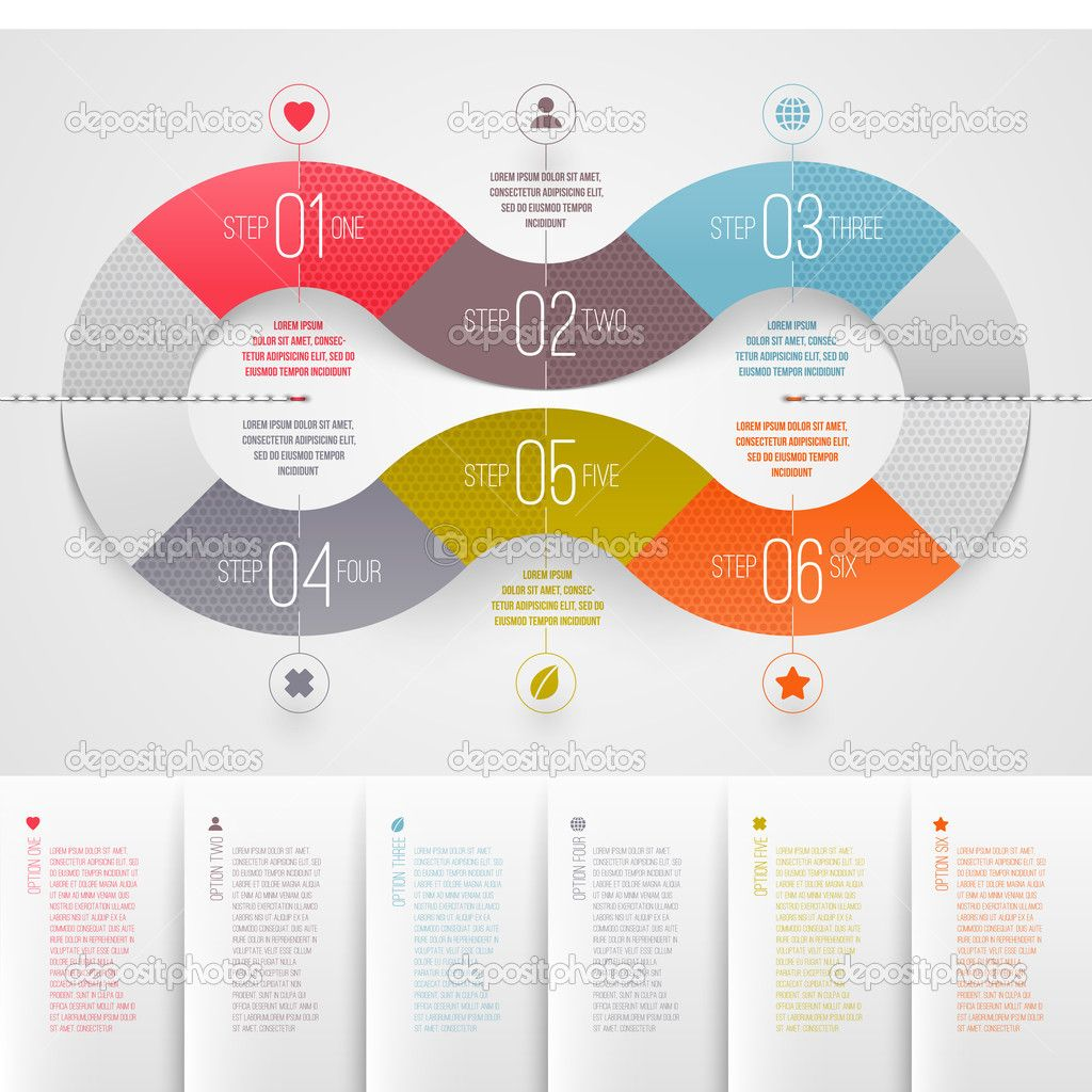 infographics design template - abstract numbered color paper waves ...