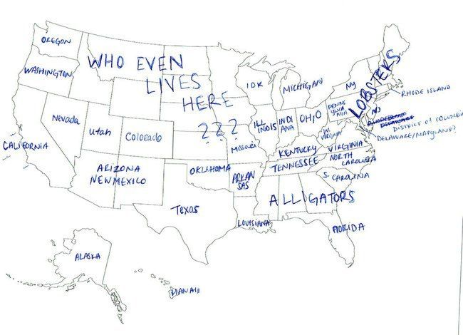 British People Attempt To Label The States In America And Fail - Us map with state labels