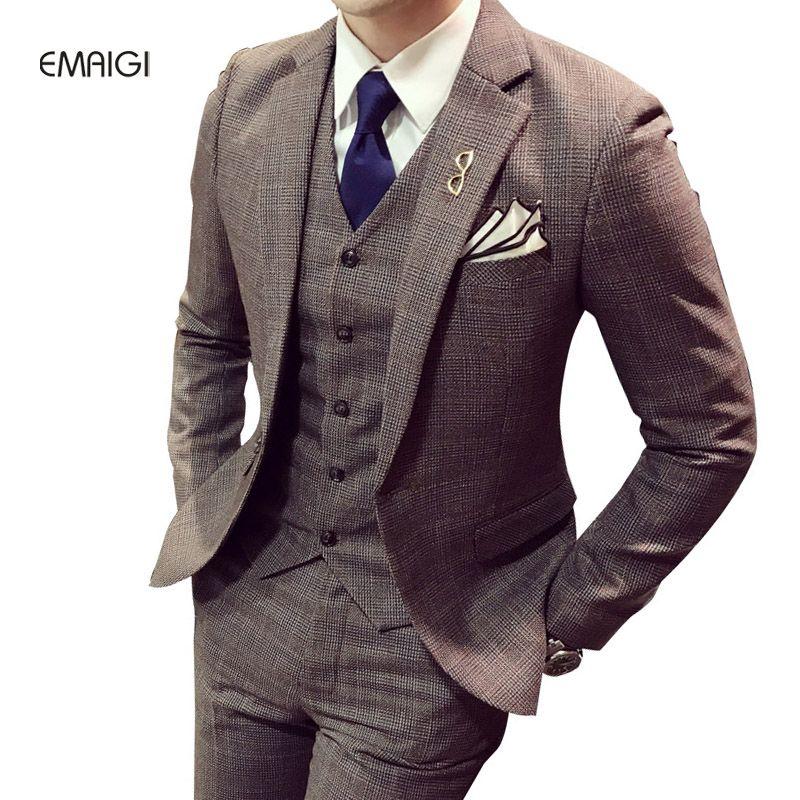 c0dbf144195 mens haircut Male Single Button Casual Suits 3 Piece (Jacket pant vest) British  Retro