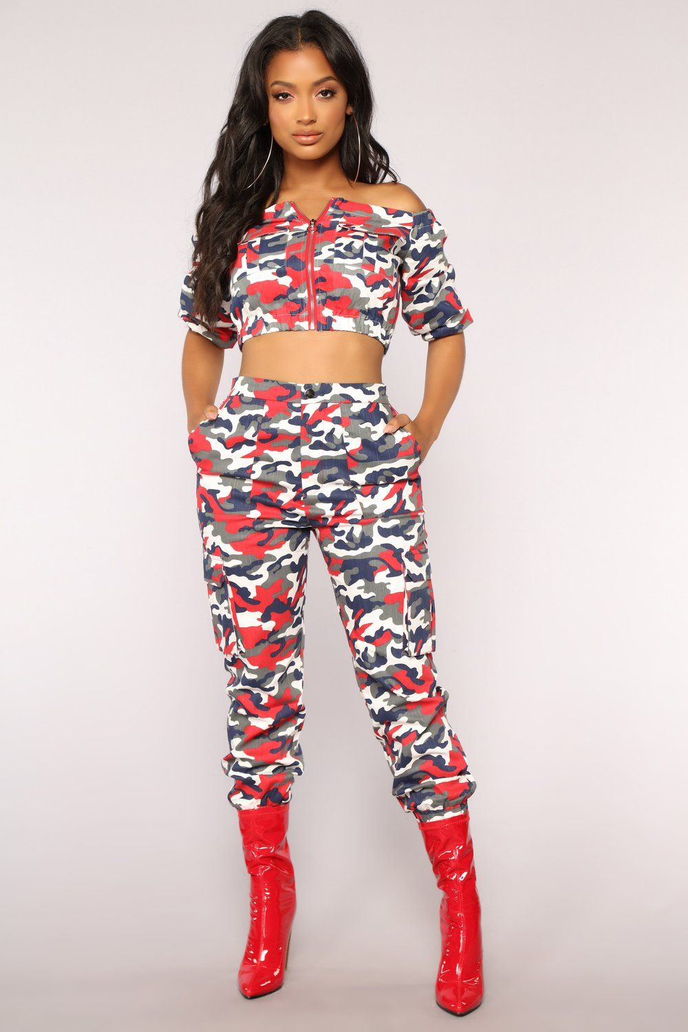 Places to go off shoulder top red camo outfit pinterest