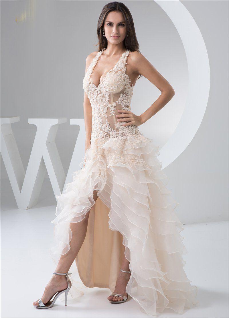 Vneck wedding dress floor length backless ruffles asymmetric