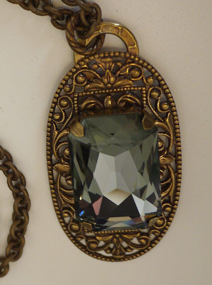 New Liz Palacios necklace, large Swarovski crystal on antiqued filgree pendant #LizPalacios #Pendant