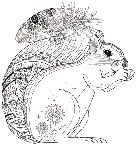 Squirrel Zentangle Coloring Page Free Printable Coloring Pages Squirrel Coloring Page Super Coloring Pages Animal Coloring Pages