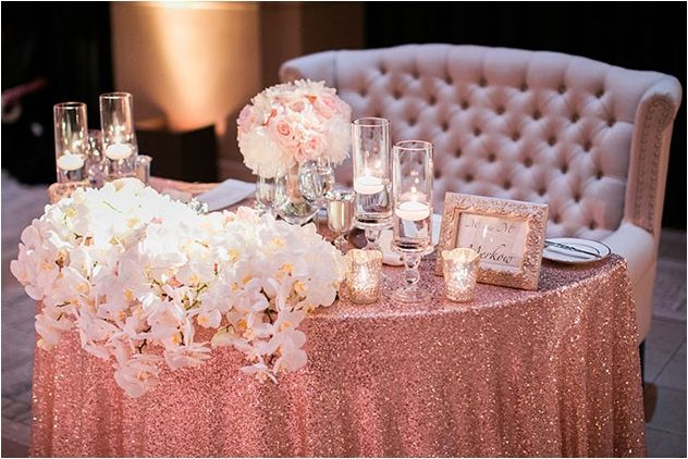 Elegant Rose Gold Quinceanera Wedding Docorations