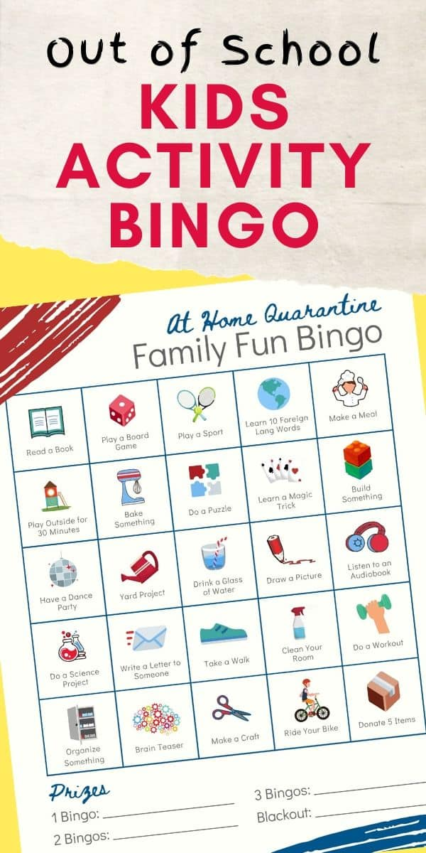 Boredom Busting Bingo Fun Ideas for Kids Out of School