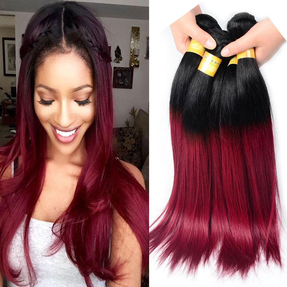 Black Rose Hair Brazilian Ombre Hair 3 Bundles 16 18 20 Inches
