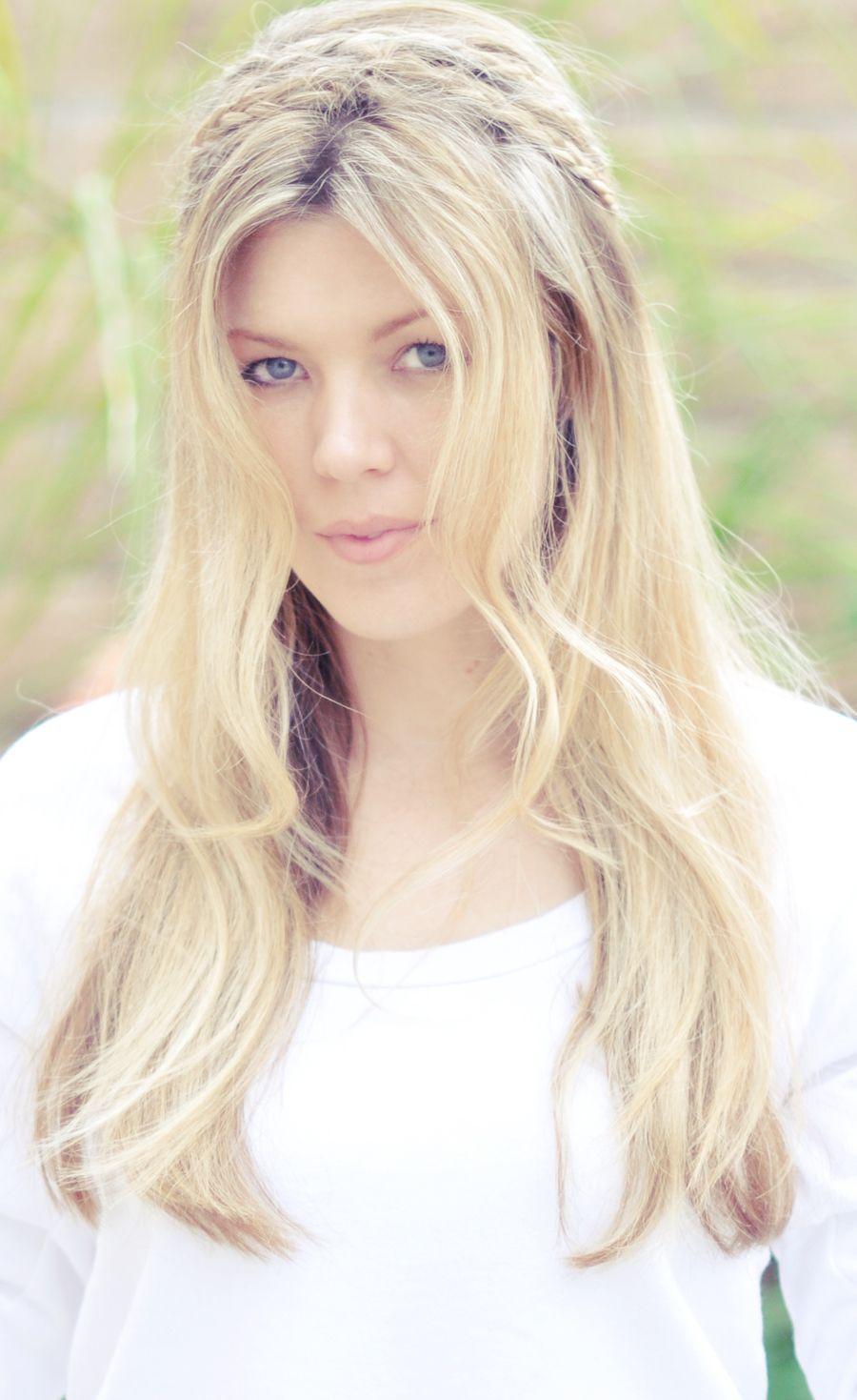 Hair blonde long braid wavy headband hair pinterest rope