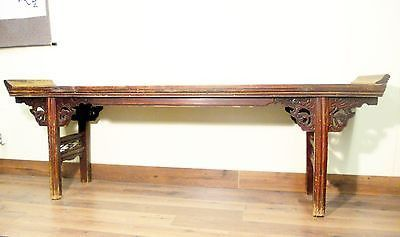 Carved altar Antique Altar Console Asian Alter Table Antique Bleached Wood Altar Console Primitive Chinese Console