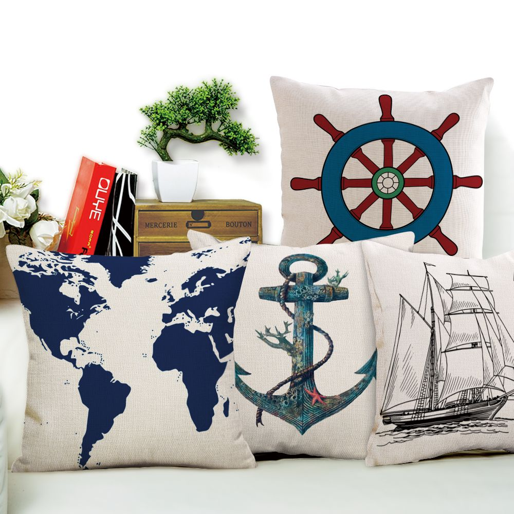 Nautical Sofa Throws Nautical Coastal Theme Throw Pillow Covers Little Luxuries