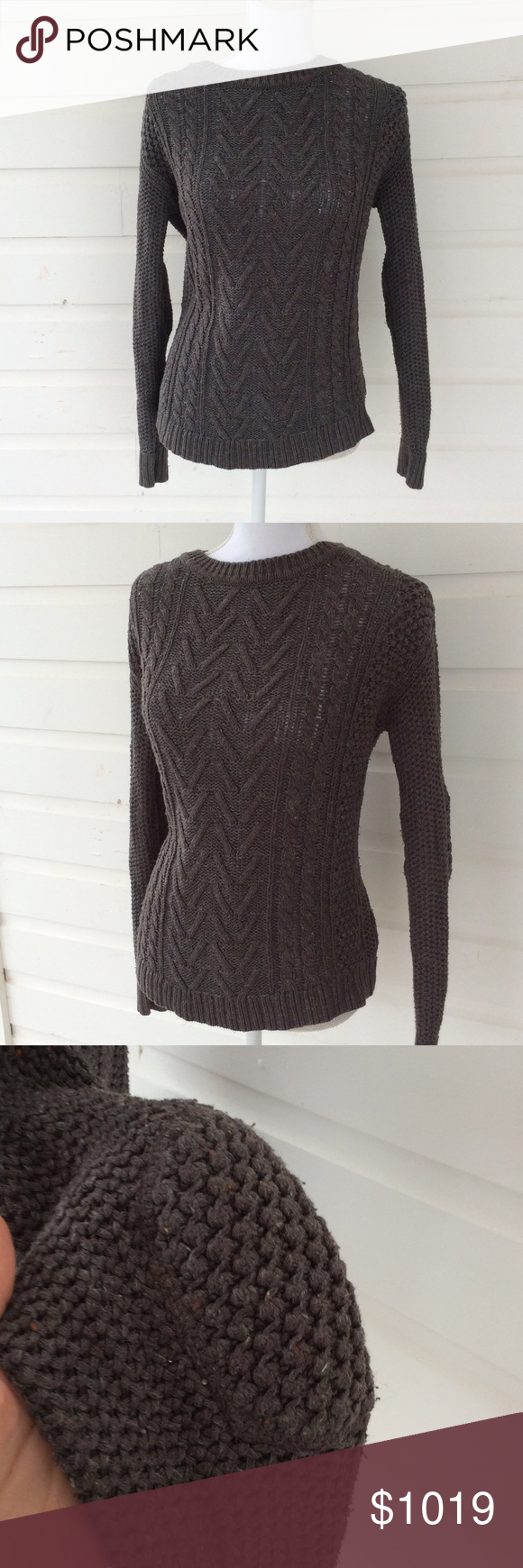 Urban Outfitters Gray Marled Cable Knit More to come in a few minutes Urban Outfitters Sweaters Crew & Scoop Necks
