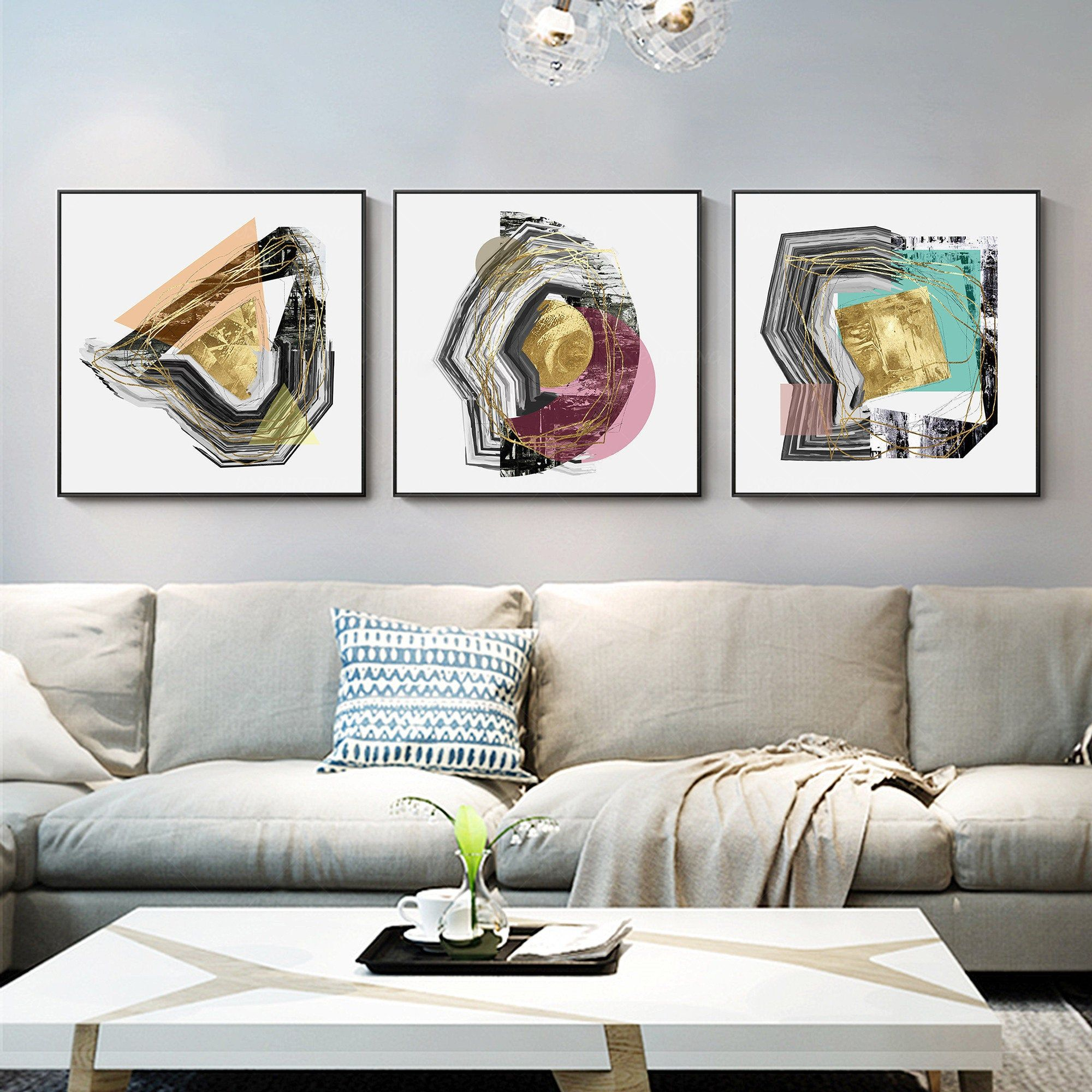 Framed Painting Set Of 3 Wall Art Abstract Print 3 Pieces Wall Etsy Painting Frames 3 Piece Wall Art Abstract Print