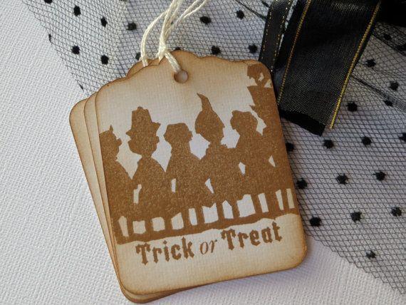 Trick or Treat Halloween tags Halloween Gift by WildSugarberries, $5.75