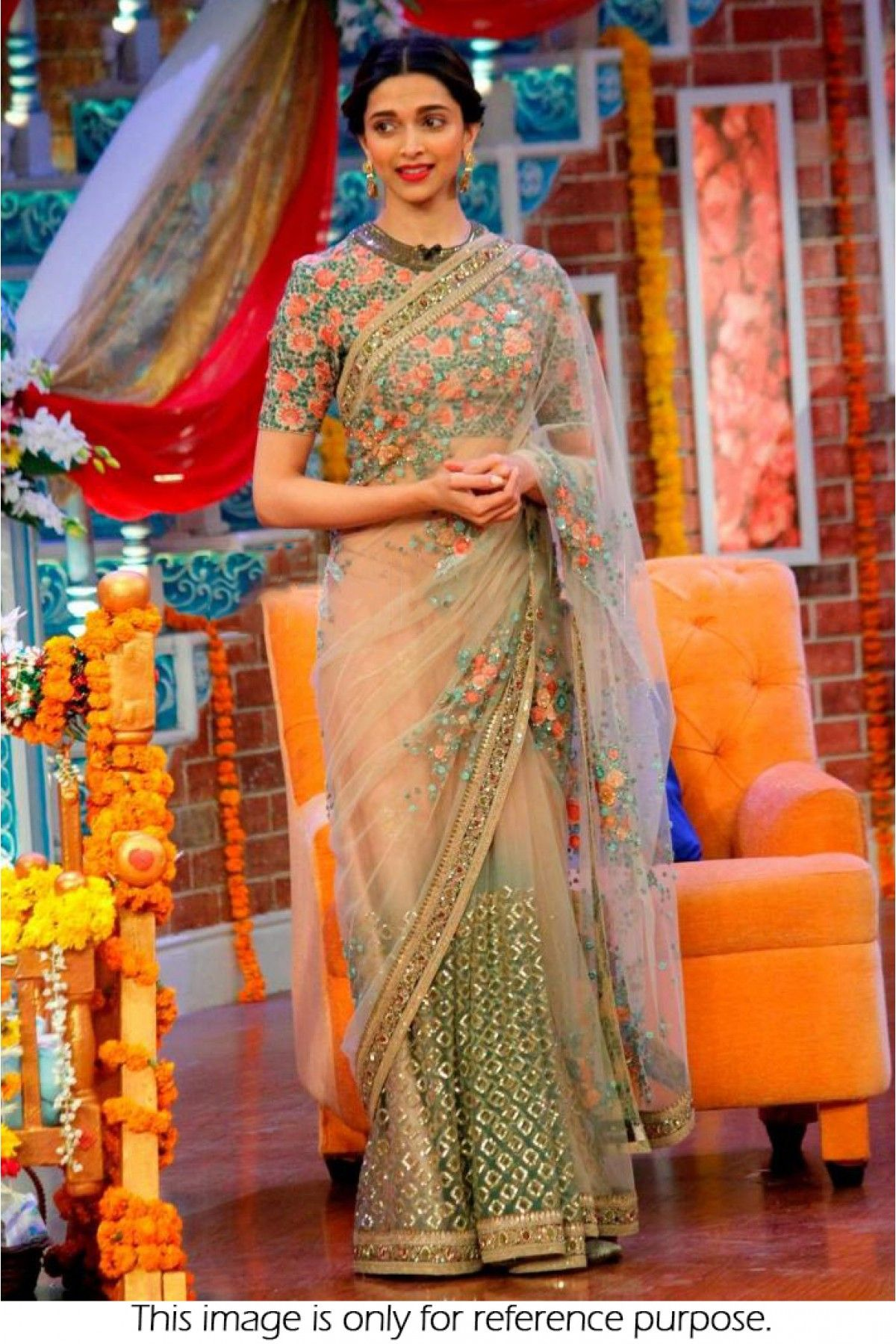 d929beb3d6367f Bollywood Style Deepika Padukone Net Saree In Peach and Green Colour NC1818  Peach and Green Colour Net Fabric Designer Bollywood Saree Comes With  Matching ...