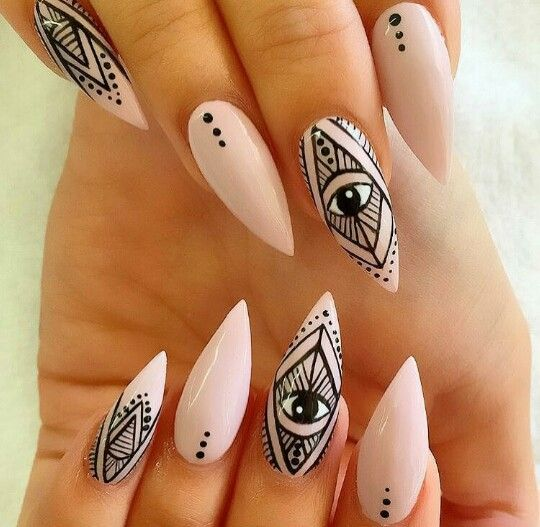 long claw nails, eye nails, and black design nails image - I See What You Did There Nails Pinterest Nail Inspo, Make Up