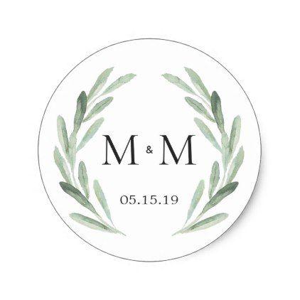 Chic rustic green wreath monogram wedding favor classic round sticker round stickers favors and wedding