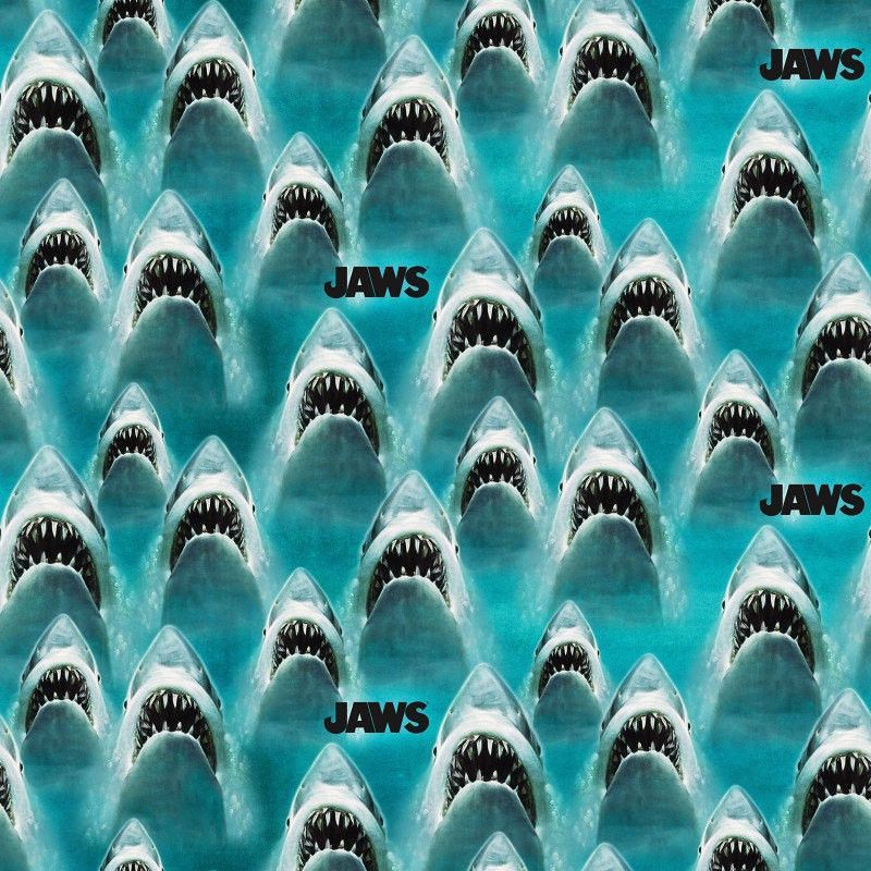 Jaws Shark Torn Patches Cotton Fabric - 15 yards Bolt - PREORDER