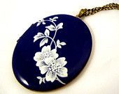 BLUE & LACE -  blue enameled big antique locket  with flower twine and long necklace