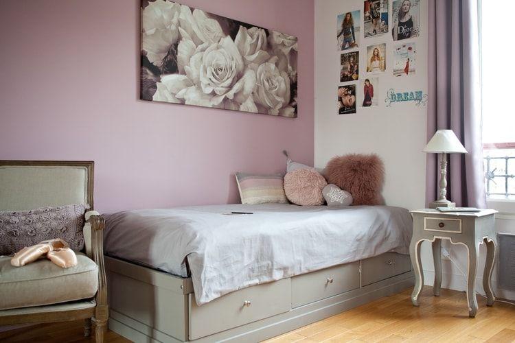 Une chambre de fille entre vieux rose et gris patiné | Déco chambre ...