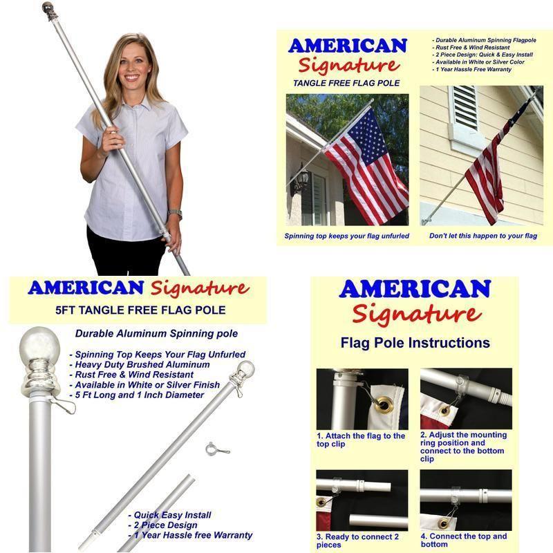 Flag pole 5 ft heavy duty aluminum spinning tangle free