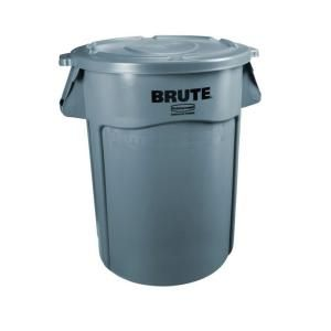 Rubbermaid Commercial Products Brute 32 Gal Gray Round Vented Trash Can With Lid 2031188 Trash Containers Garbage Waste Plastic Drums