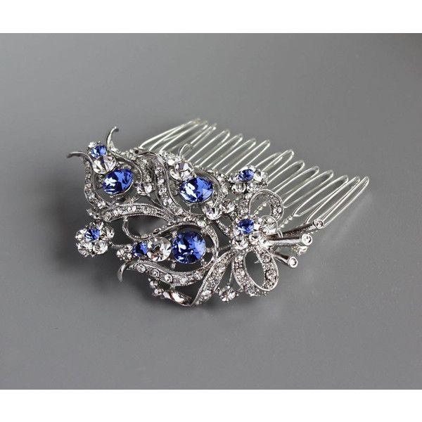 Blue Crystal Bridal Comb Crystal Bridal Hair Comb Sapphire Blue