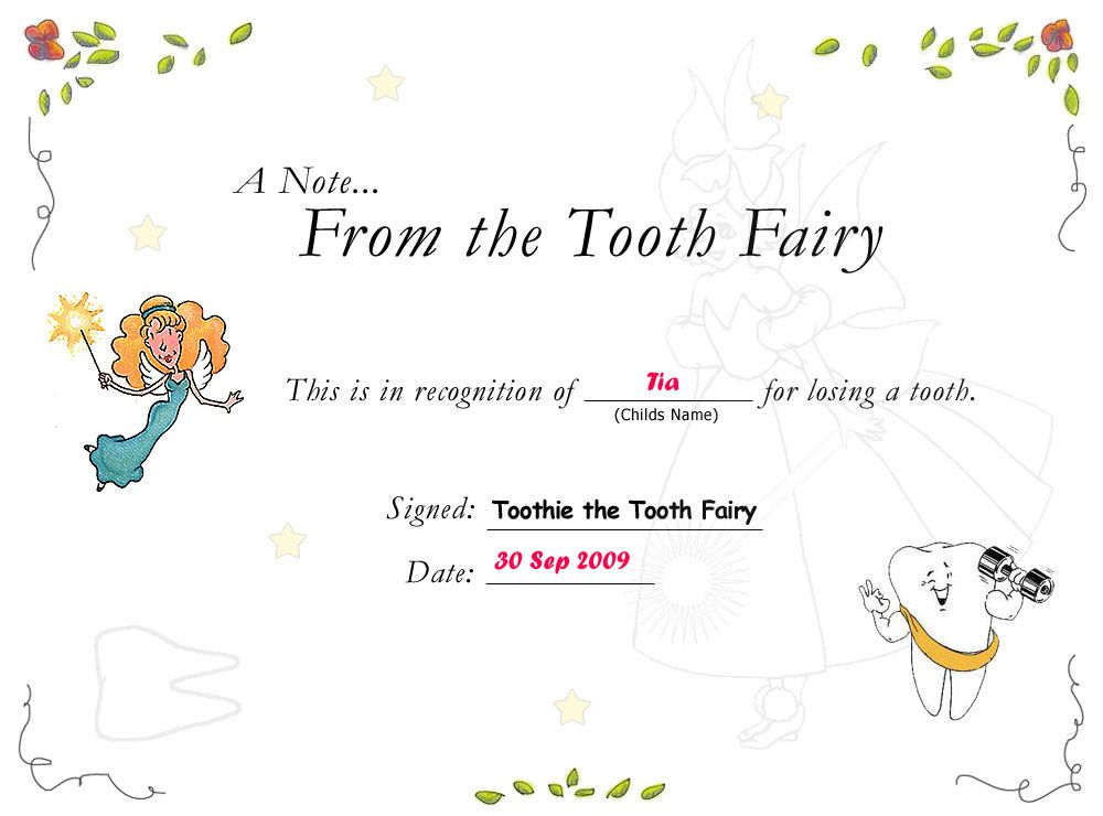 Image detail for -Tooth Fairy Certificates Constellation Aviation Consulting