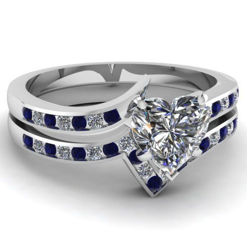 Heart Shaped Diamond Shape Blue Sapphire Bridal Rings Set ♥ #Capri #Jewelers #Arizona ~ www.caprijewelersaz.com ♥