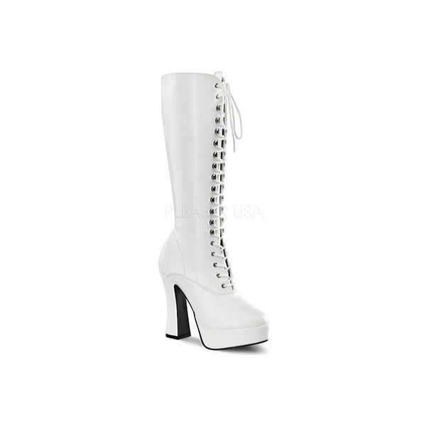 Women's Pleaser Electra 2020 - White PU Casual (82 AUD) ❤ liked on Polyvore featuring shoes, boots, casual, casual shoes, white, knee boots, white knee high boots, high heel platform boots, white knee boots and knee high platform boots