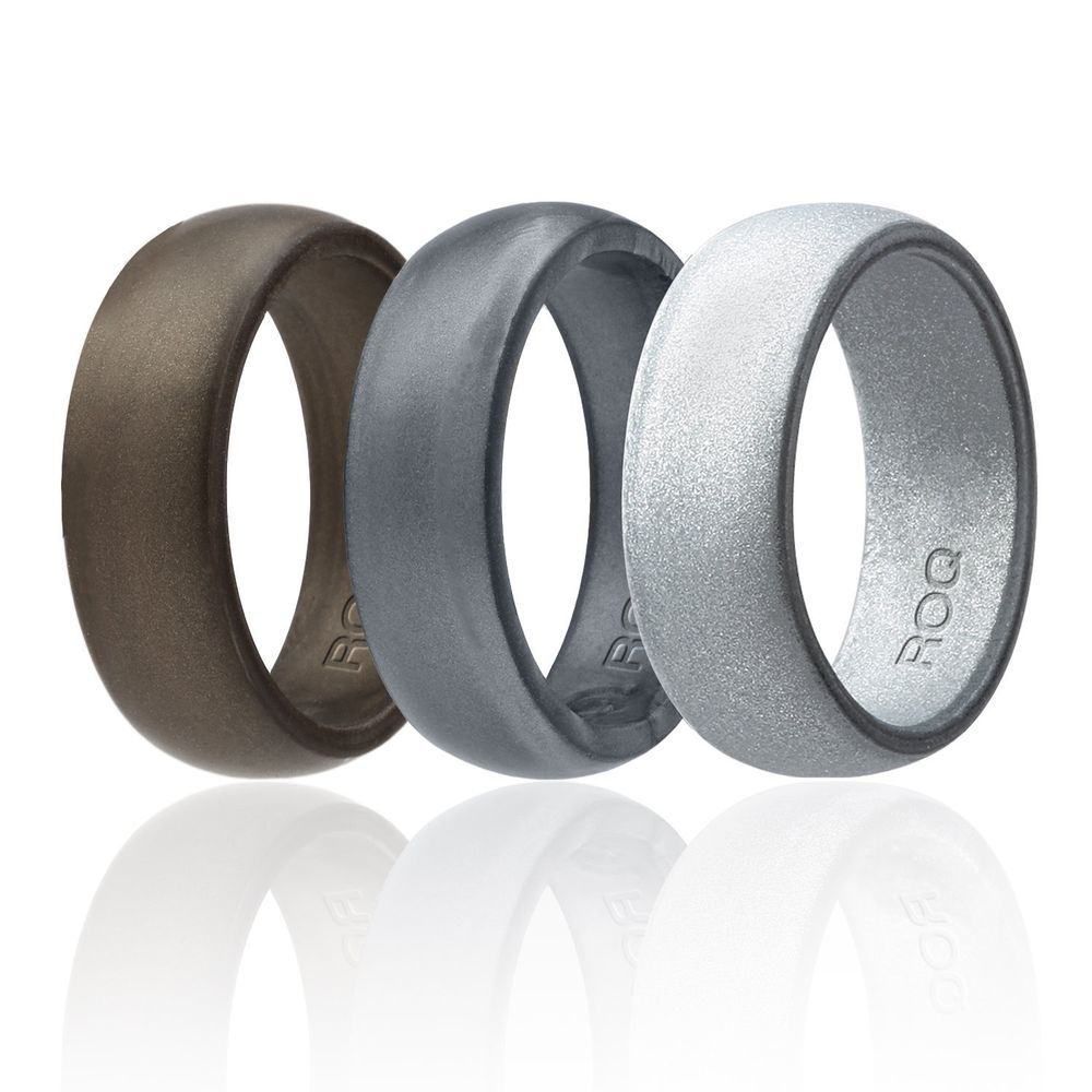 Hypoallergenic Wedding Rings: Metalic Silicone Wedding Ring Sets For Men`s