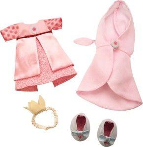 Contenu : 1 robe, 1 cape, 2 chaussures avec nœud, 1 petite couronne.
