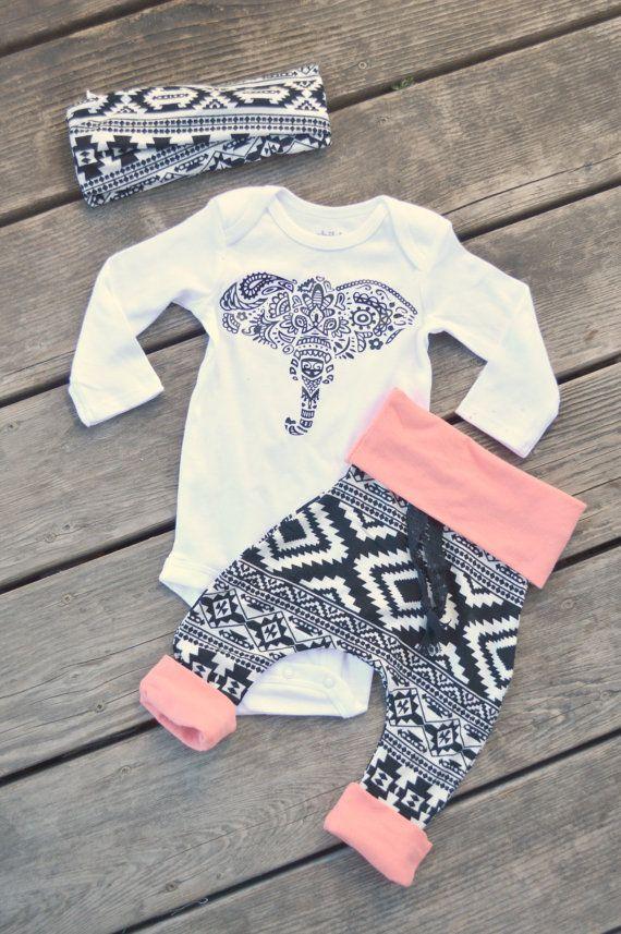 PREEMIE-18month Baby girl aztec outfit, harem pants, harem pants ...