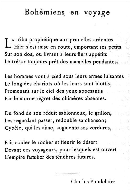 Bohémiens En Voyage Poésie Française Baudelaire Et
